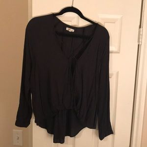 Long sleeve front cross blouse